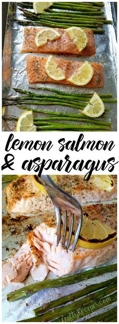 One pan lemon salmon and asparagus dinner recipe - This was so good my husband raved half the night about it! Perfect moist fish and crunchy asparagus spears. Lemon Salmon, Salmon And Asparagus, Asparagus Recipe, Asparagus Spears, Paleo Dinner, Easy Dinner Recipes, New Recipes, Favorite Recipes, Recipies