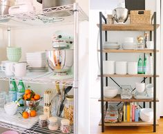 Beautiful open shelving adds style and function! Kitchen Shelves, Kitchen Storage, Kitchen Necessities, Open Shelving, Open Bookcase, Shelving Ideas, Storage Ideas, Open Kitchen, Staying Organized
