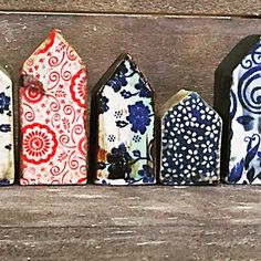 Small Ceramic Houses with rice paper transfer underglaze.  Mark Strayer, Northstar Pottery