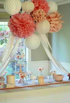 Party Table - love the combo of poms and paper lanterns!