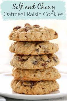 Soft Oatmeal Raisin Cookies, Healthy Oatmeal Cookies, Oatmeal Cookie Recipes, Chocolate Chip Oatmeal, Easy Cookie Recipes, Dessert Recipes, Cookies Soft, Soft Cookie Recipe, Soft And Chewy Oatmeal Raisin Cookies Recipe