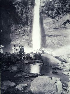 ca 1918 Dutch East Indies, Malang, Niagara Falls, Landscape, Nature, Waterfalls, Travel, Outdoor, Nostalgia