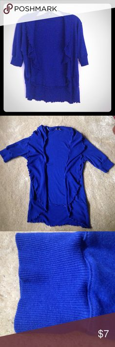 Cobalt blue ruffle cardigan from Express Express Sexy Basic. Size S Express Sweaters Cardigans