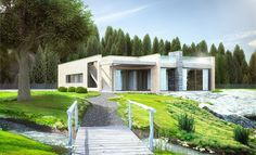 Ett plan, store vindusflater og flott takterrasse. Huset har en planløsning som… Home Fashion, Pergola, Outdoor Structures, Mansions, Architecture, House Styles, Home Decor, Google, Patio