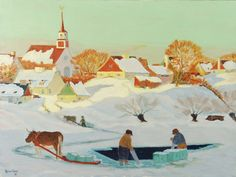 Cutting a hole in the ice, an illustration by Clarence Gagnon for Louise Hemon's novel, Marie Chapdelaine, published in the Canadian Painters, Canadian Artists, Artist Art, Artist At Work, Clarence Gagnon, Group Of Seven Paintings, Tom Thomson, Impressionism, Landscape Paintings