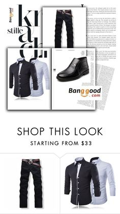 """Banggood 4 Men' s Fashion #elegance #man #black"" by almin-sturm ❤ liked on Polyvore featuring men's fashion and menswear"