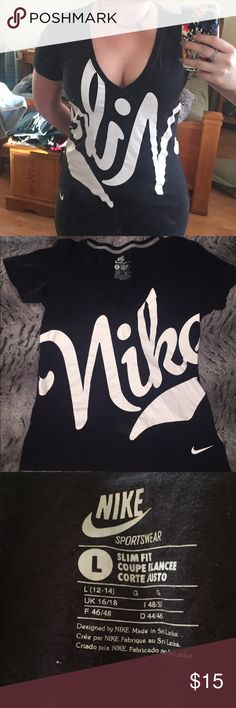 Nike sports wear cotton v-neck shirt Great condition, black and white. Sz L (10-12) slim fit Nike Tops Tees - Short Sleeve