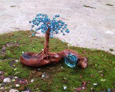 Wire Tree Sculpture, Driftwood Sculpture, Driftwood Art, Sculpture Art, Elements Of Nature, Small Lake, Wire Trees, Blue Beads, Tree Art