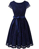 IVNIS RS90033 Women's Vintage Lace V Back Bridesmaid Party Dress Short Prom Dress Cap Sleeve Navy S