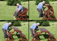 Folding Bench and Picnic Table Combo  http://www.buildeazy.com/plans/pd/bench_table_combo.pdf