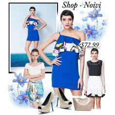 Blue Figure Print Inclined Shoulder Dress