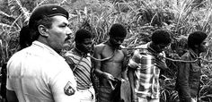A picture taken by photogrpaher Luiz Morier in Rio de Janeiro in 1983 shows how the police treats black men. In a scenario that is reminescent of slavery, 4 black men are shown tied together with a lasso around each of their necks.