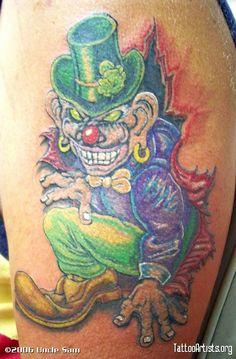 Irish Leprechaun Clown ripping ou of the skin on the upper arm - - #talesofthetatt #tattoo  #Irish #StPatricksDay- www.talesofthetatt.com Irish Tattoos, Irish Leprechaun, Watercolor Tattoo, Temp Tattoo