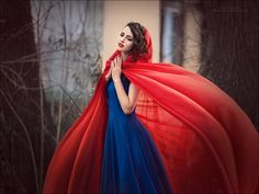 red cloak blue dress