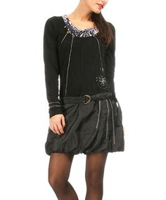 Look at this Black Belted Drop-Waist Dress on #zulily today!