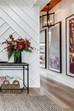 A beautiful entry way inside this transitional home. Wall details play like artwork home entryway, dramatic home foyer, dramatic front entrance, dramatic front entryway, custom Entryway Table Modern, Rustic Entryway, Entryway Decor, Entryway Tables, Entryway Ideas, Console Tables, Hallway Ideas, Modern Hallway, Entryway Console