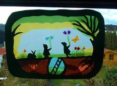 Jahreszeitentisch - Waldorfart Transparentbild Frühling Wurzelkinder - ein Designerstück von Puppenprofi bei DaWanda