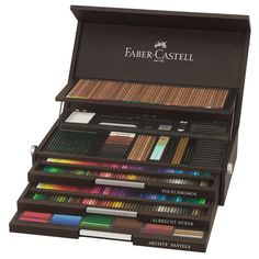 Art & Graphic Limited Edition wood case - Comprehensive range of high quality artist products from Faber-Castell - Made in Germany Hand-Crafted Wooden case in wenge color with silver hinges and locks. Limited edition of 1,761 pieces - each box with certificate and serial number.