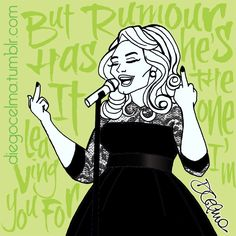 """🖕🏻 """"Now rumour has it she ain't got your love anymore..."""" 🖕🏻 Amazing Adele performing """"Rumour Has It"""" at the Royal Albert Hall. One of my favourites performances EVER. #Adele #RumourHasIt #performance #fuckoff #fuckyou #beautiful #singer #illustration #drawing #sketch #sketching #art #fanart #doodle #mixedmedia #ink #inkdrawing #RoyalAlbertHall https://www.facebook.com/diegocelmailustrador/"""