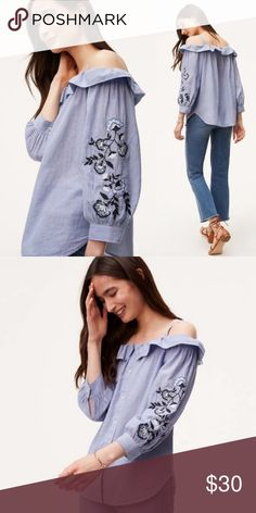 a38bb72b77045 Ann Taylor LOFT Embroidered Blue Off Shoulder Top Blue and white striped top  off the shoulder