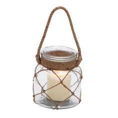 Woodland Imports 28857 Gorgeous Styled Glass Rope Candle Lantern