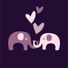 Valentine Elephants in Pink and Purple Digital by viveradesign, $5.00
