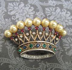 Antique Trifari Crown Brooch Sterling Silver Faux Pearls And Rhinestones Circa 1940