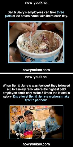 ﴾͡๏̯͡๏﴿ Its a Fact-- I wanna work here Wtf Fun Facts, True Facts, Funny Facts, Strange Facts, Crazy Facts, Random Facts, What The Fact, Ben And Jerrys, The More You Know