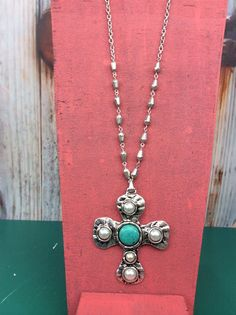 Silver Cross With Turquoise/Pearl Necklace - NEK119SI