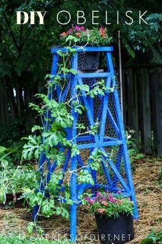 Make a wood garden obelisk for your garden with this tutorial. How to Build a Wooden Garden Obelisk Garden Art, Garden Tools, Garden Design, Herb Garden, Garden Junk, Garden Paths, Wooden Pergola, Diy Pergola, Pergola Ideas