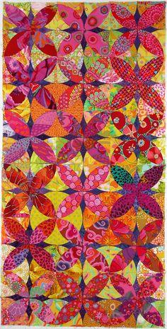 "Alabama Beauty by Carol Muse Skinner :. It is hand pieced using the Inklingo pattern ""Orange Peel Deluxe."""
