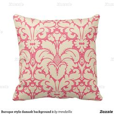 Baroque style damask background 2 throw pillows