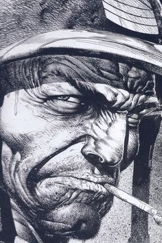 Sgt.Rock. Face detail. Brian Bolland.  Love the inks, hatching etc!