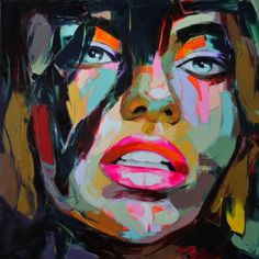 Artcozy Francoise Nielly Knife Spray Canvas Painting Abstract Portrait Face Oil Paint Figure Wall Art Pictures Home Decoration Art And Illustration, Abstract Portrait, Oil Painting Abstract, Knife Painting, Abstract Art, Oil Portrait, Woman Portrait, China Painting, Art Pop