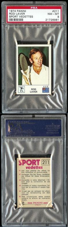 Tennis Cards 43371: 1974 Panini Rod Laver Psa 8 Italian Sport Vedettes (Pop 3, None Higher) -> BUY IT NOW ONLY: $74.99 on eBay!