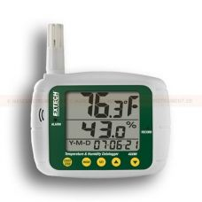 http://logger.nu/temperatur-loggers-r34851/datalogger-for-temperatur-och-luftfuktighet-53-42280-r34878  Datalogger för temperatur och luftfuktighet   Triple LCD visar luftfuktighet, temperatur och datum (år, månad och dag)  Programmerbar från knappsats eller PC  Valbar dataregistreringsfrekvens  Programmerbara hörbara och visuella larm  Vägg-, skrivbords- eller stativfäste  Kalibreras via saltflaskor med standardkoncentration som kan köpas till  Komplett med Windows ® kompatibel...