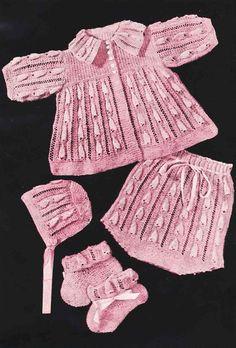 Baby belle matinee coat set vintage knitting pattern by Ellisadine