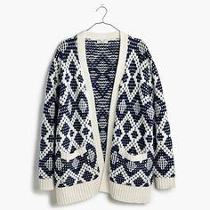 Contrast Fair Isle Cardigan Sweater