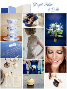 Royal blue & gold wedding inspiration I think my love would like this bc it's Notre Dam colors