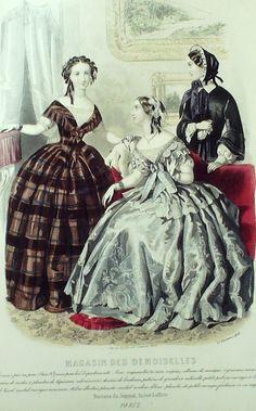 Dezember 1853  ++++++++++  GRAVURE de MODE AUTHENTIQUE-M144-MAGASIN DEMOISELLES-ROBES DE COUR-1853