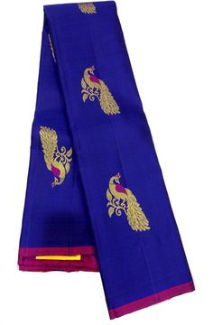 Shop online for Blue Handloom Kanjeevaram Pure Silk Saree
