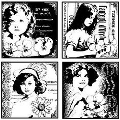 Crafty Individuals Unmounted Rubber Stamp Four Pretty Young Girls