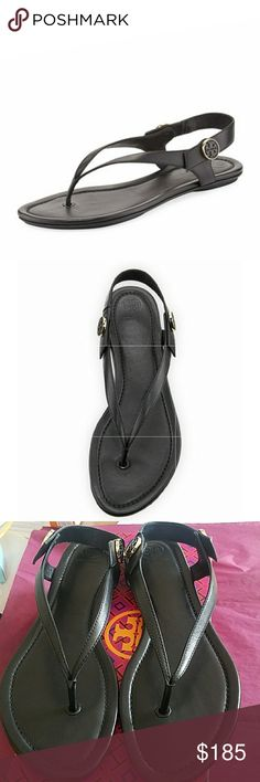 f318ad5a75866 😍Tory Burch Minnie Leather Flat Travel Sandal😍  Black Tory Burch leather  sandal