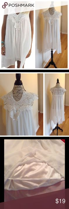 """✨Casual😍Crotchet V Neck Dress✨NWOT ✨Beautiful Casual Dress✨High Low Dress✨Lining✨95% Polyester & 5% Spandex✨Approx. 21"""" armpit to armpit measurement ✨27"""" in length measured front from v neck to hem✨Approx. 37"""" measured back from top to hem✨ wear for those tropical vacations, night on the town, so much😍potential!!!!✨ Dresses"""