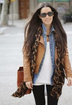 Stylish Winter Outfit : Leather Coat , Black Tights,Leopard Scarf, Leather Handbag, JEans Shirt, White Blouse