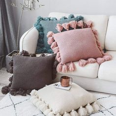 Knit Cushion Cover Solid Ivory Grey Pink Ivory Green Solid Pillow Case Soft For Sofa Bed Nursery Room Decorative. Cute Cushions, Colourful Cushions, Cute Pillows, Diy Pillows, Vintage Cushions, Floor Cushions, Cushions On Bed, Bedroom Cushions, Modern Cushions