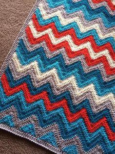 Crochet Afghans, Crochet Ripple, Manta Crochet, Crochet Stitches, Free Crochet, Knit Crochet, Ripple Crochet Patterns, Ripple Afghan, Crochet Edgings