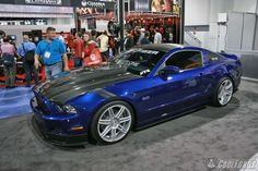 Sexy blue Mustang with Trufiber custom hood and body panels.