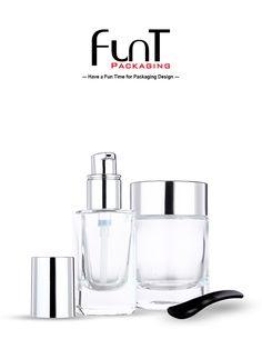 High quality foundation liquid glass bottle and glass jar with spatula. Packaging Solutions, Liquid Foundation, Soap Dispenser, Glass Bottles, Packaging Design, Container, Skin Care, Cosmetics, Fun