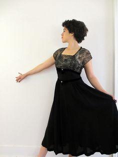 40's Vintage Illusion Lace Sheer Dress w rhinestones and velvet medium